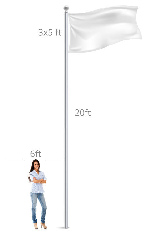 woman standing next to 20ft flag pole